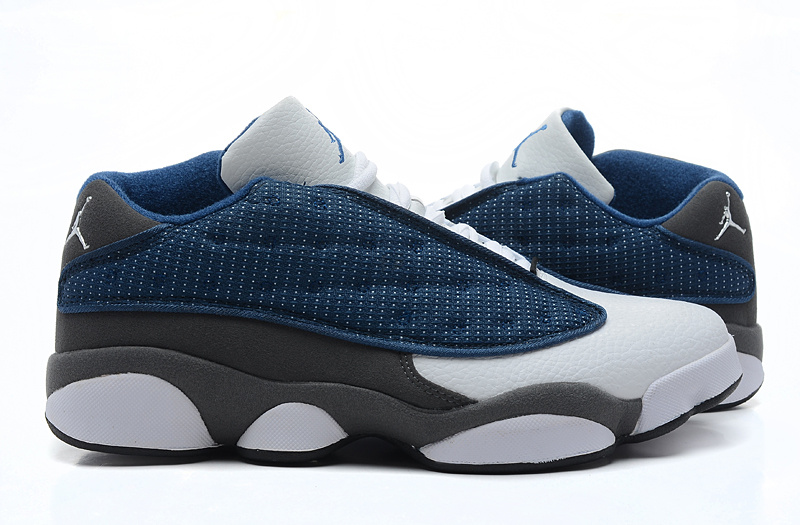 9ae19899c7ca09 Air Jordan 13 Low Blue White Grey Shoes