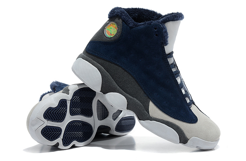 2013 Comfortable Air Jordan 13 Wool Blue White Grey Shoes