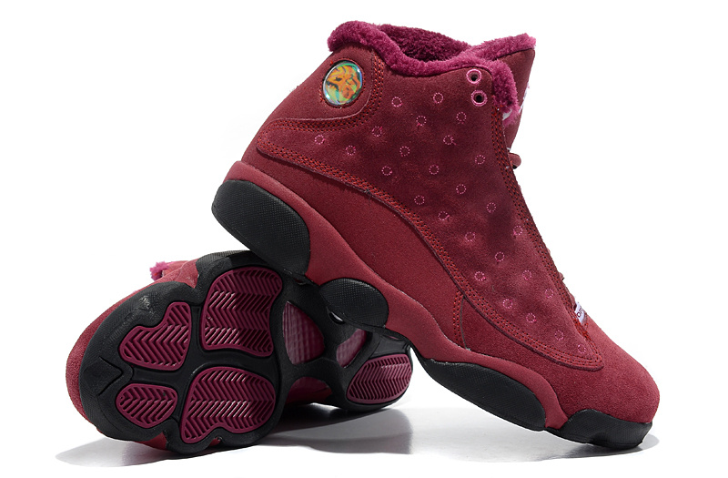 2013 Comfortable Air Jordan 13 Wool Wine Red Black Shoes
