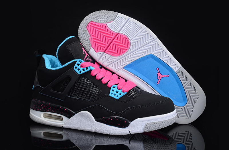 1af409bccdc9 Authentic Jordan 4 Black Blue Pink For Women