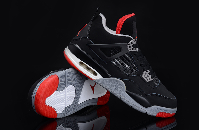 Authentic Jordan 4 Black Grey Red For Women