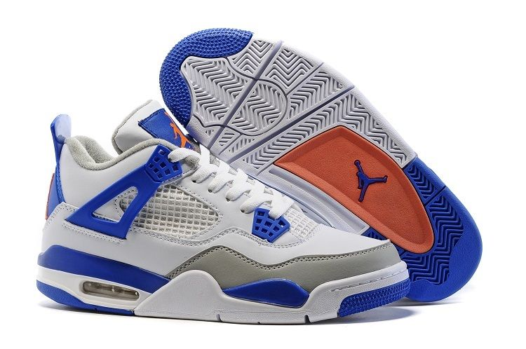 Air Jordan 4 Knicks White Hyper Orange Deep Royal Blue Wolf Grey