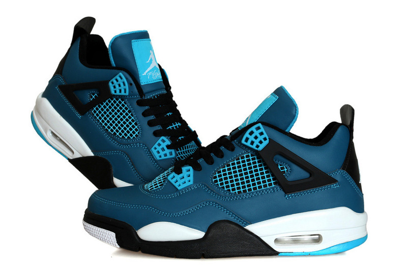 New Air Jordan Retro 4 Teal Blue Black White Shoes