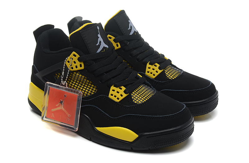 Air Jordan 4 Retro Thunder Black White Tour Yellow