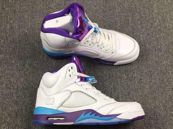 Air Jordan 5 Hornets White Blue Purple