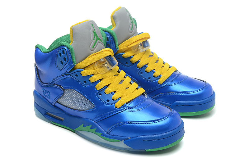 Air Jordan 5 Retro Easter Metallic Blue Yellow Green Cheap