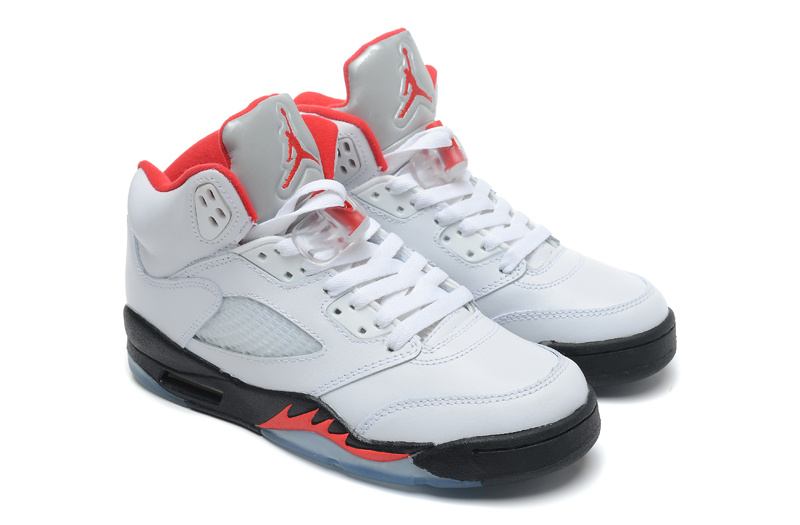 Air Jordan 5 Retro White Black Fire Red