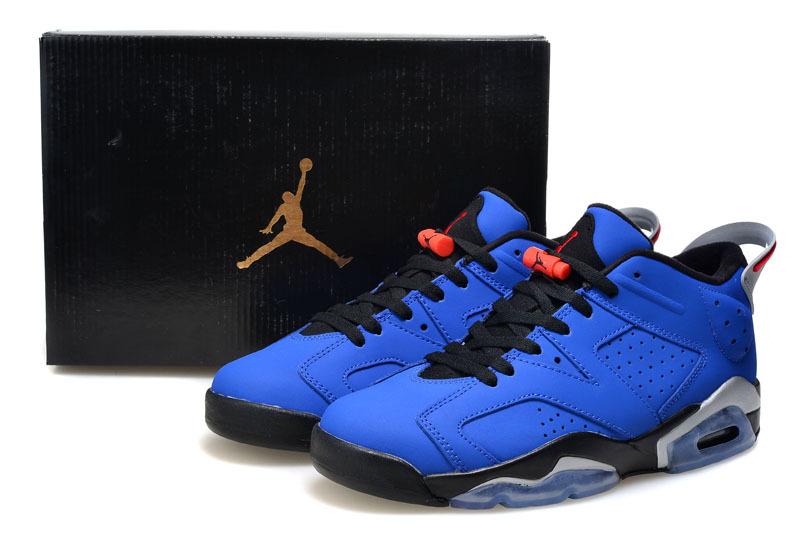 the best attitude 791ab 72f14 2015 Real Air Jordan 6 Low Cut Blue Black Shoes For Women