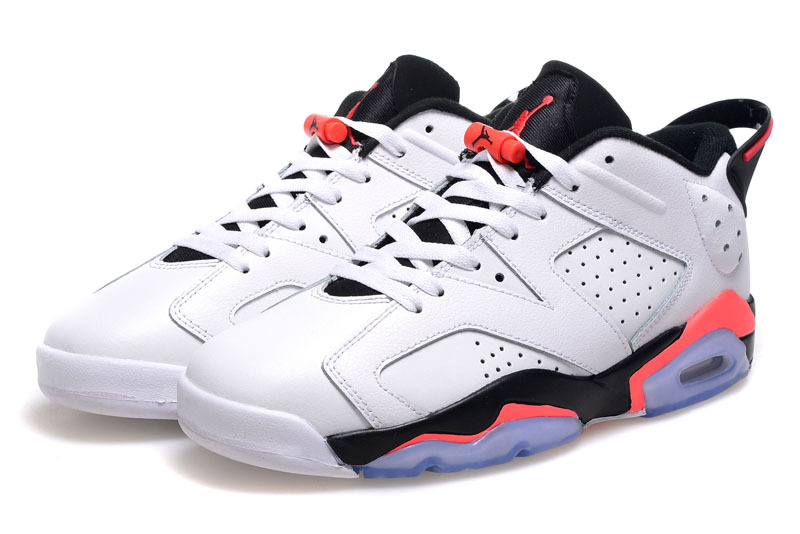 2015 Real Air Jordan 6 Low Cut White Black Pink Shoes For Women
