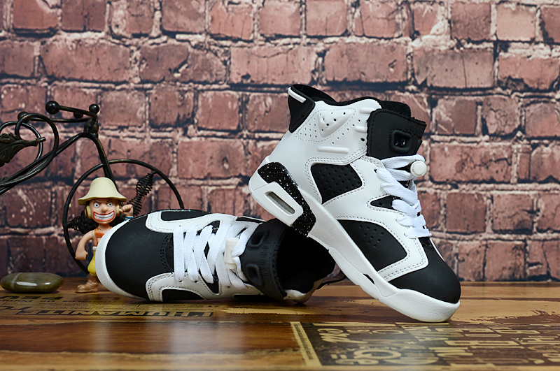 Air Jordan 6 Retro White Black Shoes For Kids