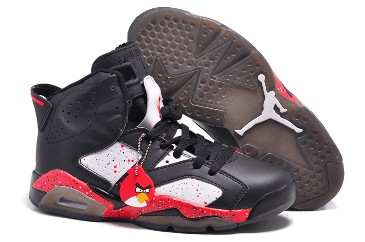 Air Jordan 6 VI Custom Angry Birds Black White Red Specked Cheap