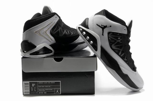 2012 Jordan Flight The Power Black Grey Shoes