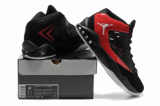 2012 Jordan Flight The Power Black Red Shoes