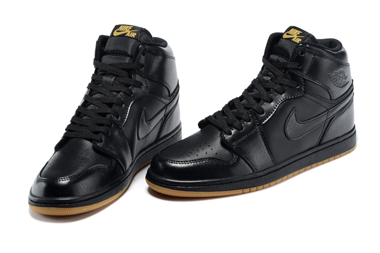 2015 Air Jordn 1 Retro High OG Black Yellow Shoes
