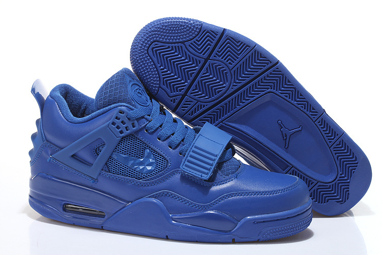 2015 All Blue Air Jordan 4 Shoes With Strap