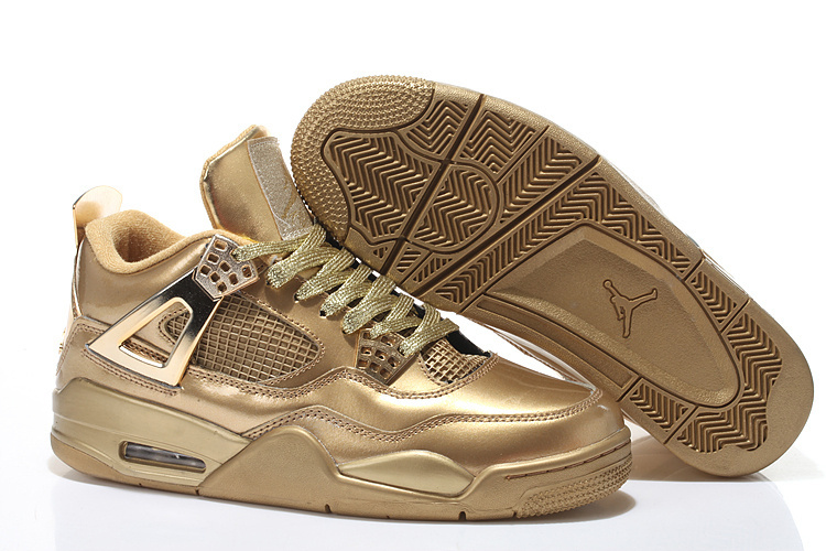 2015 All Gold Air Jordan 4 Shoes With Strap