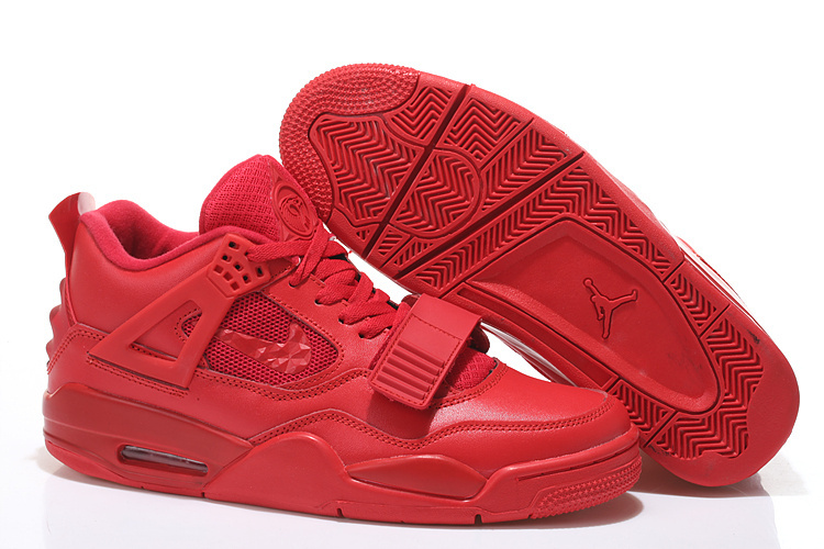 2015 All Red Air Jordan 4 Shoes With Strap