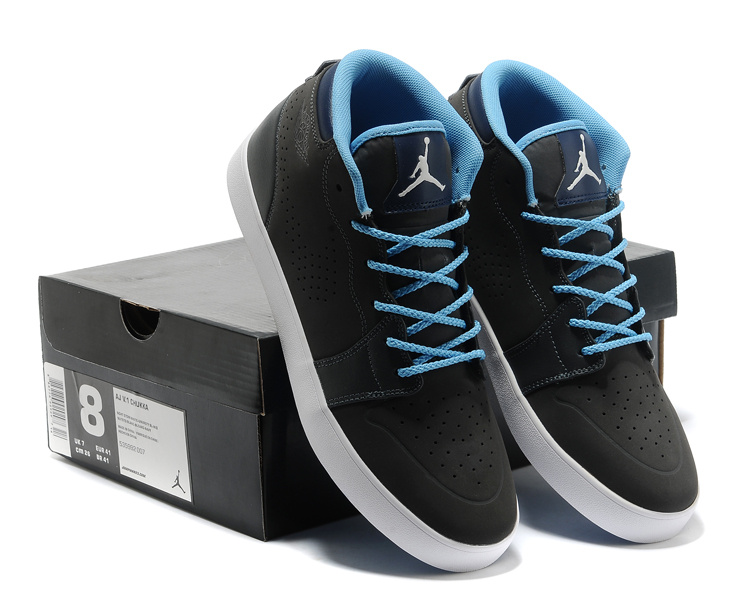 Cheap Real Casual Jordan 1 Black Blue Shoes