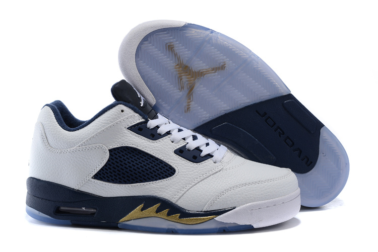 Cheap Air Jordan 5 Low Dunk From Above White Metallic Gold Star Midnight Navy