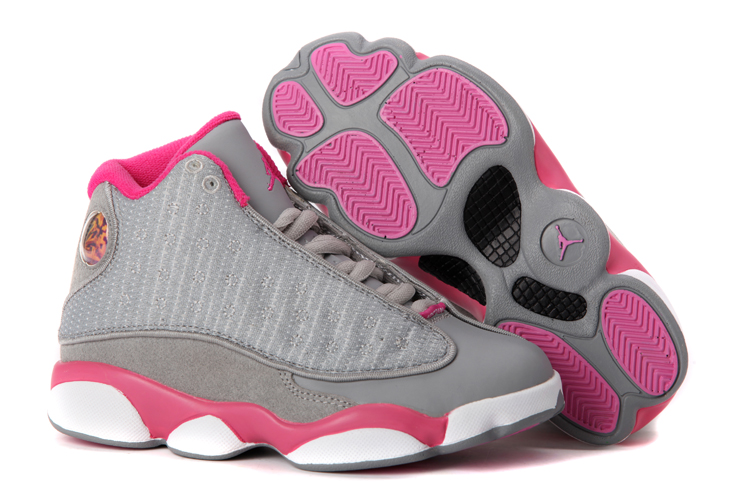Cheap New Women Air Jordans 13 Retro gray pink white