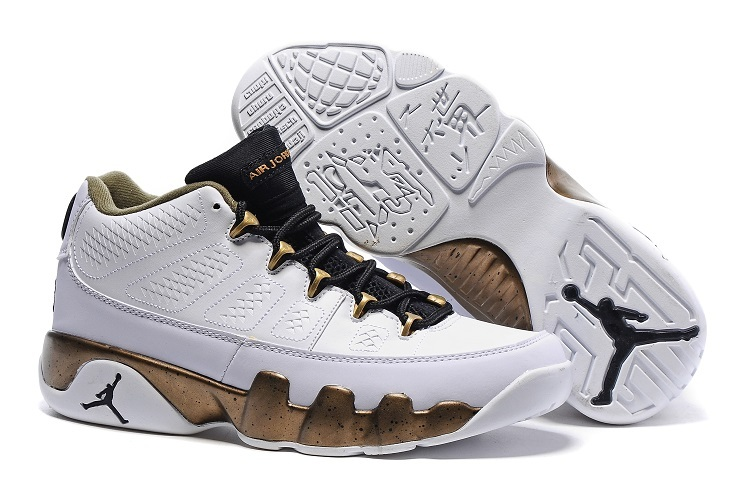 brand new 3e6e5 b2ef2 Cheap Nike Air Jordan 9 Retro Low Copper Statue White Black Militia Green