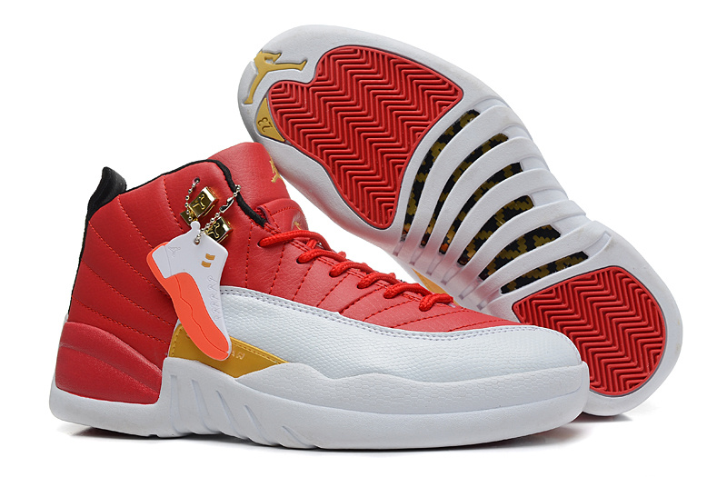 Girls Air Jordan 12 GS White Red Gold For Womens Cheap
