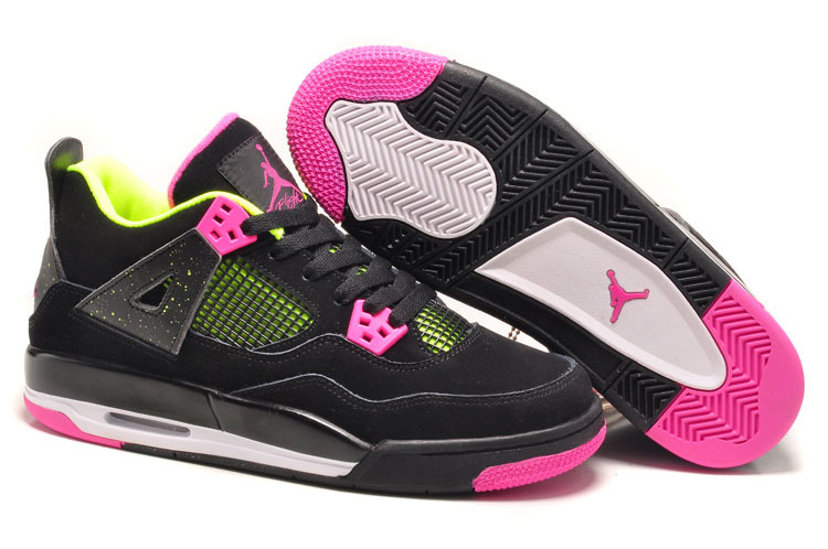 Girls Air Jordan 4 Retro Black Suede Light Green Pink