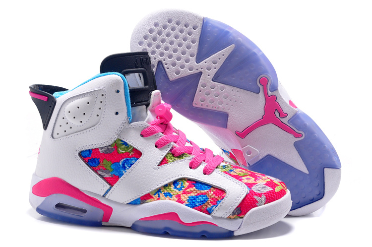 Girls Air Jordan 6 Retro GS White Black Pink Flower Leaf Print