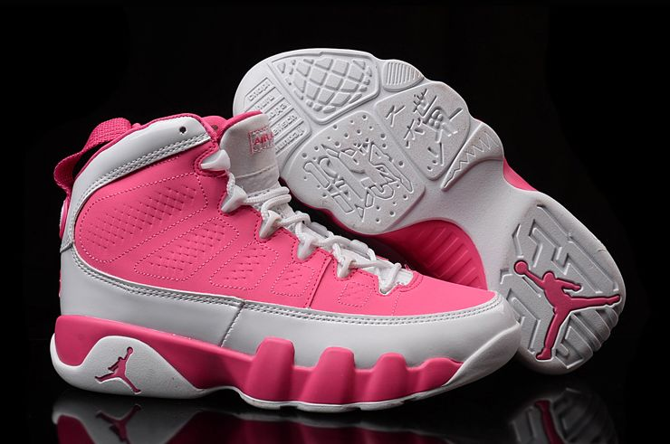 Girls Air Jordan 9 GS Pink White Womens Size