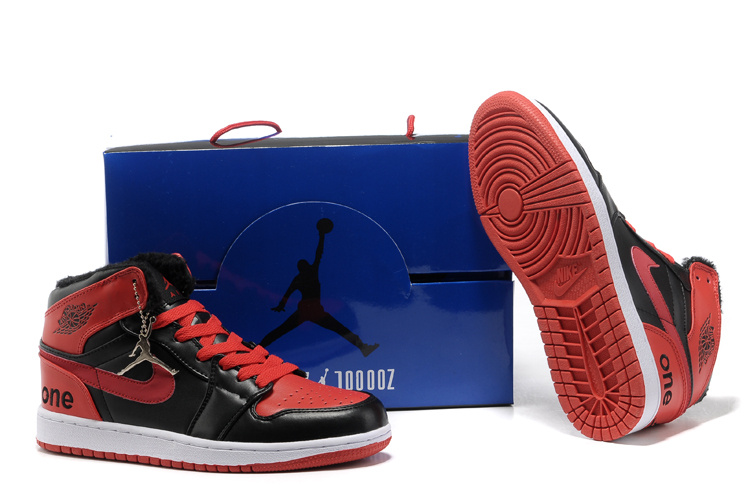 Hardback Air Jordan 1 Wool Black Red White Shoes