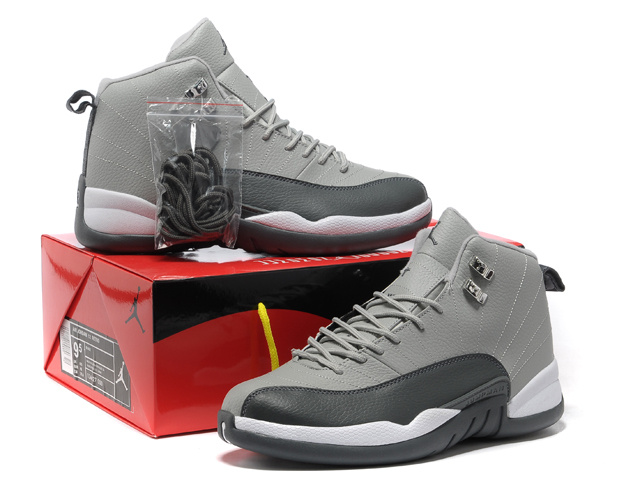 2013 Hardback Air Jordan 12 Grey Black White Shoes