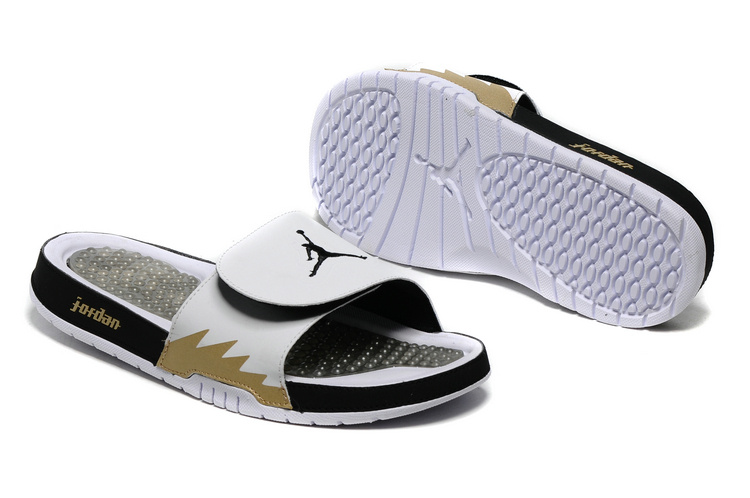 Jordan Hydro 5 White Black Gold Slide Sandals