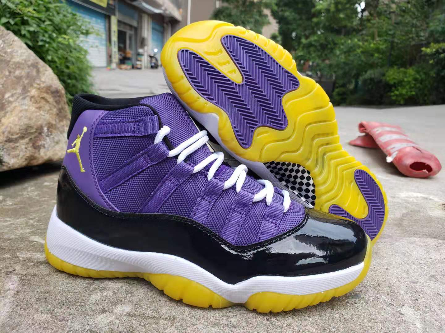 2019 Air Jordan Shoes 11 Purple Black Yellow