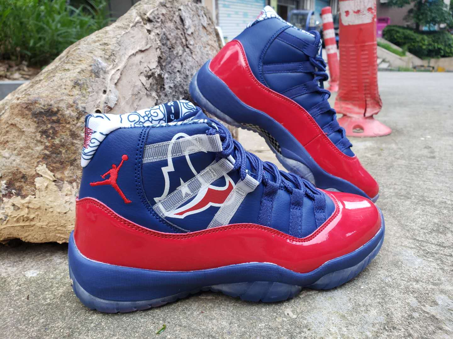 2019 Air Jordan Shoes 11 Champion Leather Blue Red Shoes