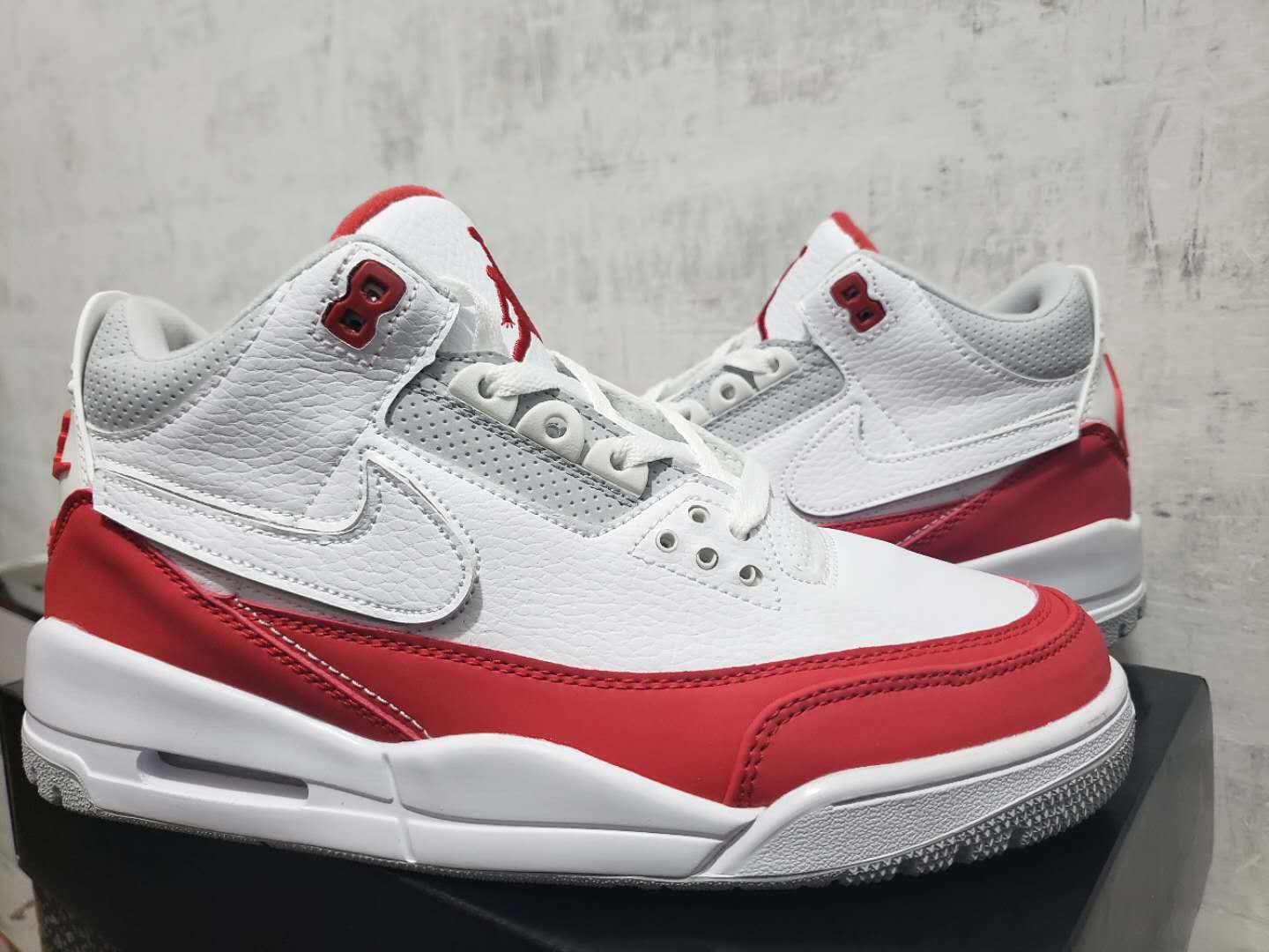 Air Jordan Shoes 3 White Red Drawing For Cheap