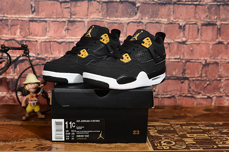 2019 Real Kids Jordan 4 Black Gold White