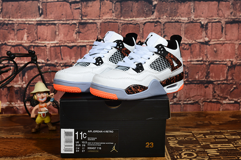 2019 Kids Air Jordan 4 Retro Marble White Black Orange