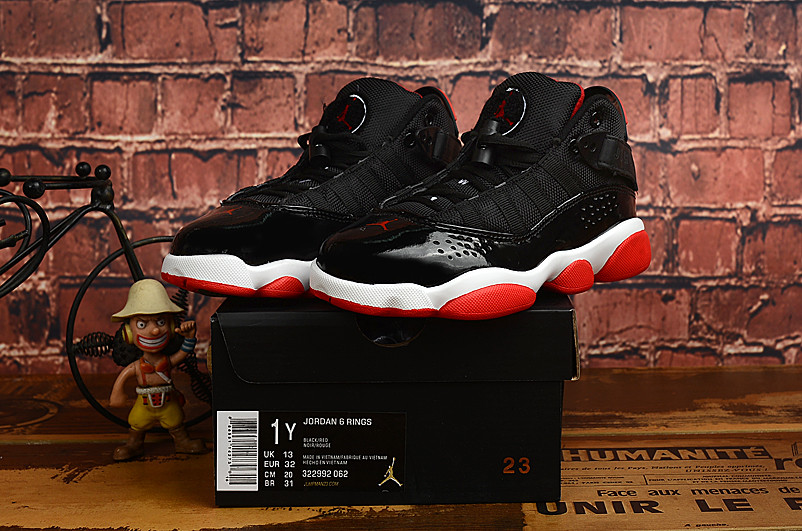 2019 Kids Jordan Six Rings Black Red White
