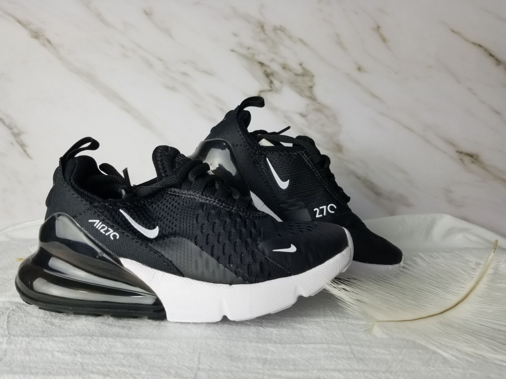 Kids Nike Air Max 270 Black White Shoes