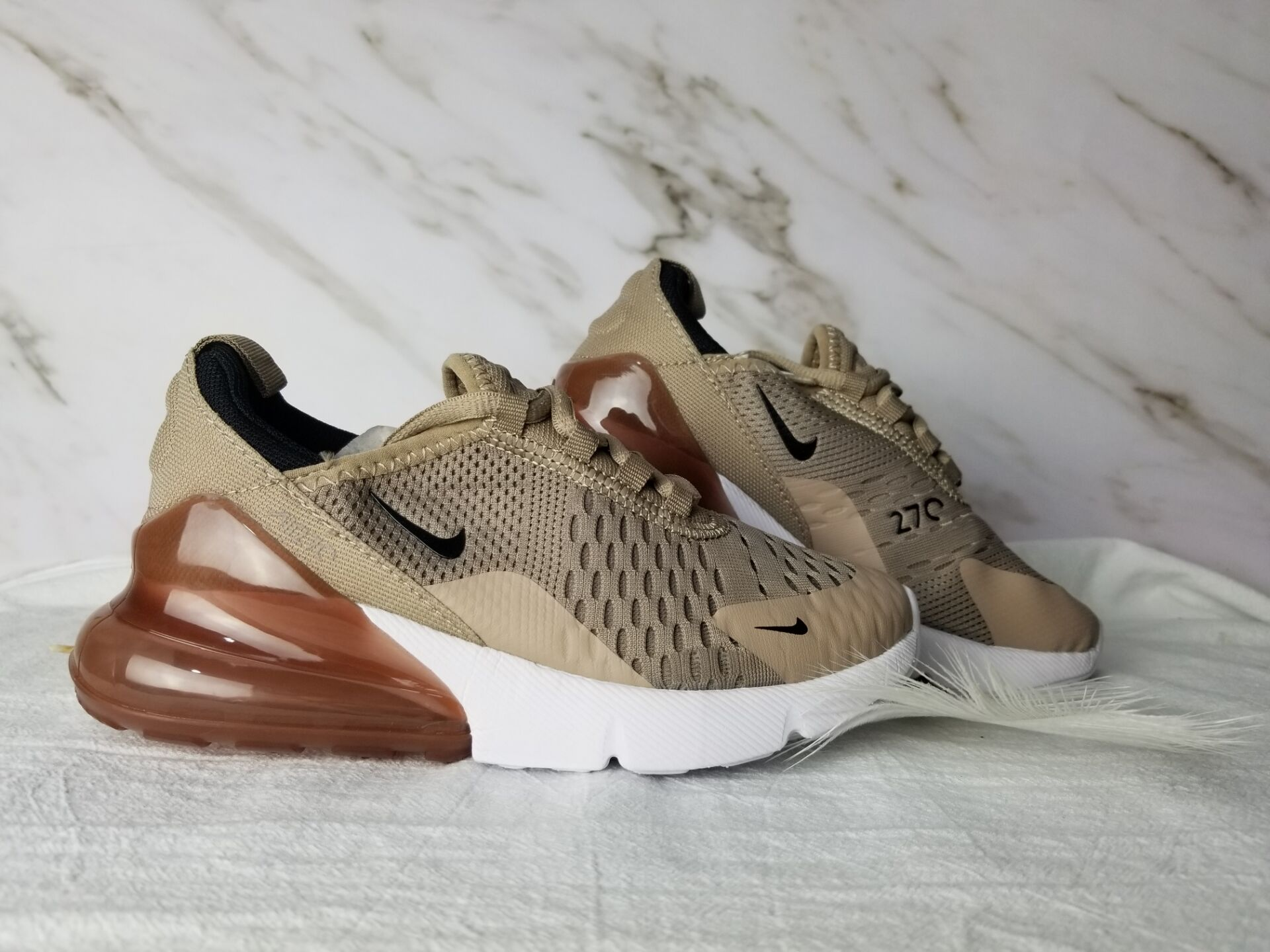 Kids Nike Air Max 270 Brown White Shoes