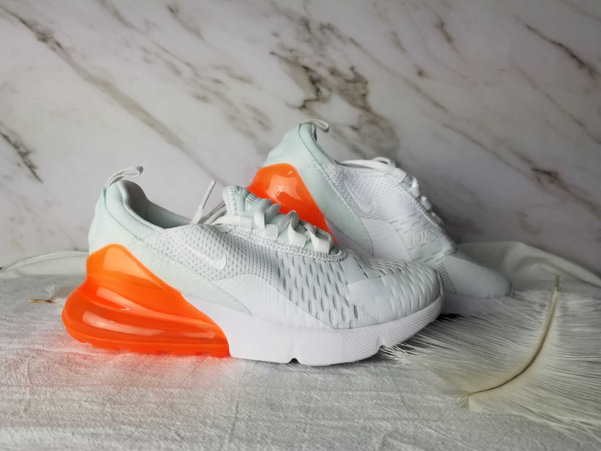 Kids Nike Air Max 270 White Orange Shoes