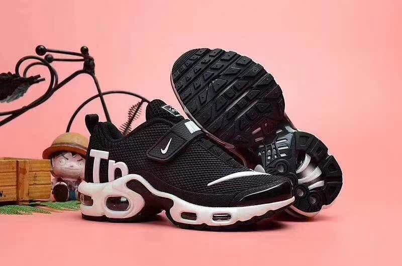 Kids Nike Air Max TN Magic Strap Black White Logo Shoes