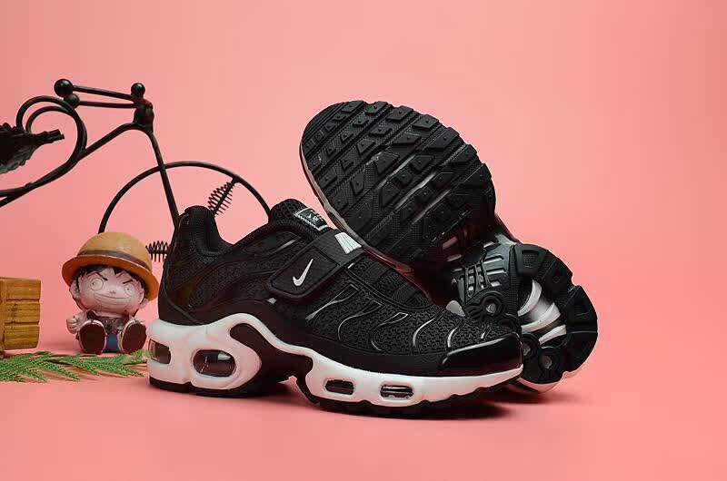 Kids Nike Air Max TN Magic Strap Black White Shoes