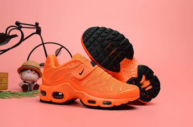 Kids Nike Air Max TN Magic Strap Orange Black Shoes