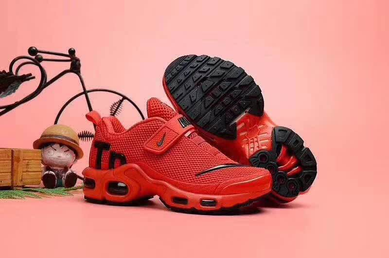 Kids Nike Air Max TN Magic Strap Red Black Logo Shoes