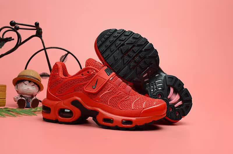 Kids Nike Air Max TN Magic Strap Red Black Shoes