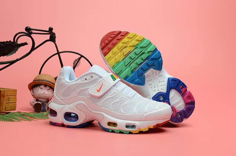 Kids Nike Air Max TN Magic Strap White Rainbow Shoes