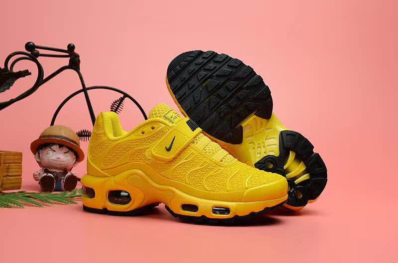 Kids Nike Air Max TN Magic Strap Yellow Black Shoes