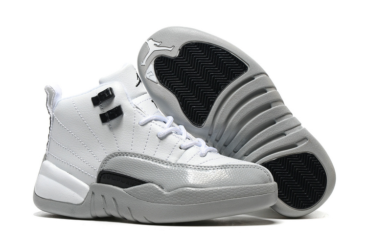 ed21460b99af Kids Air Jordan 12 Barons White Black Wolf Grey