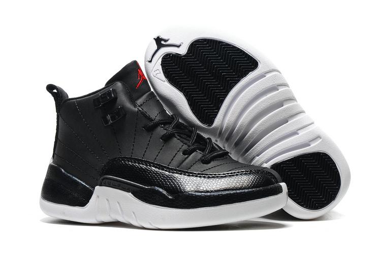 440b3aa8e506b3 Kids Air Jordan 12 Black Nylon Black White Gym Red